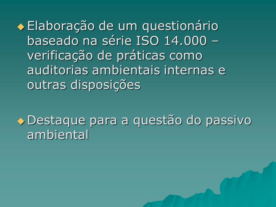 Elaboração de um questionário baseado na série ISO 14