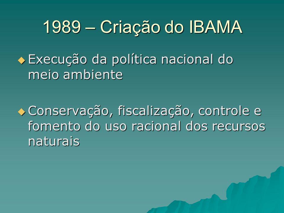 1989 – Criação do IBAMA Execução da política nacional do meio ambiente