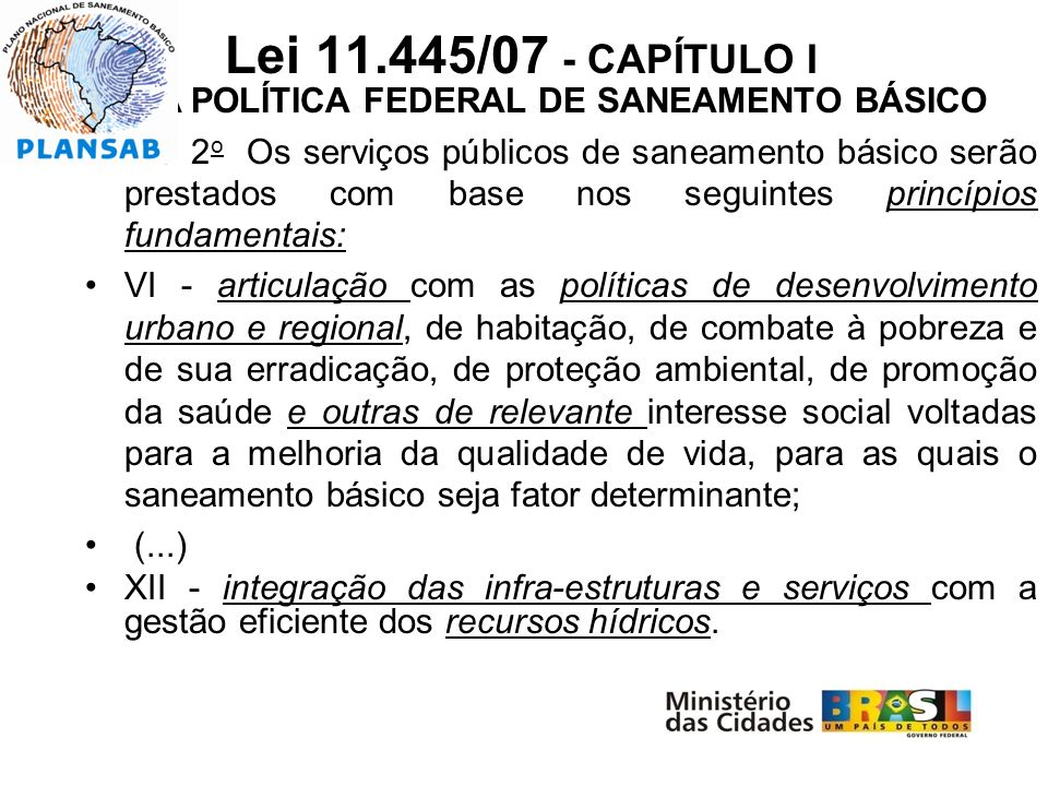 DA POLÍTICA FEDERAL DE SANEAMENTO BÁSICO