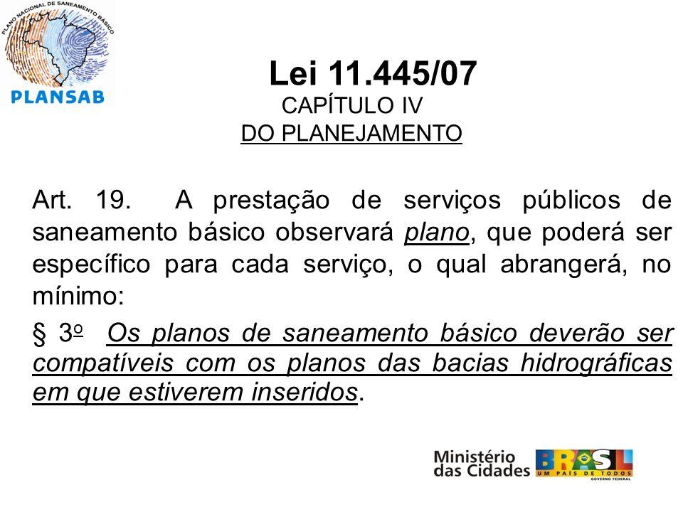 Lei 11.445/07 CAPÍTULO IV. DO PLANEJAMENTO.