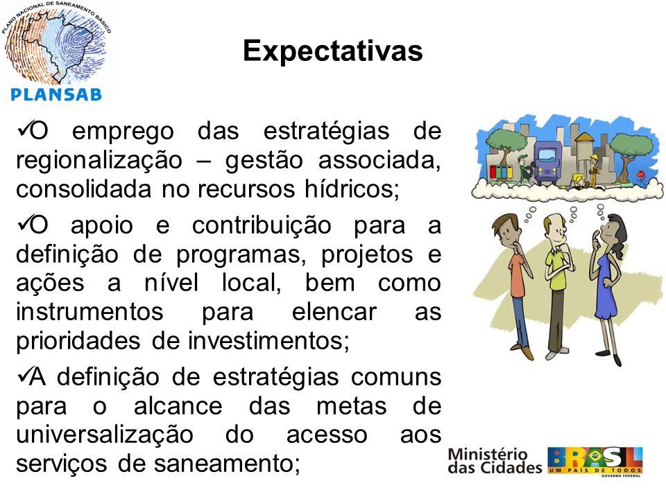 Expectativas O emprego das estratégias de regionalização – gestão associada, consolidada no recursos hídricos;