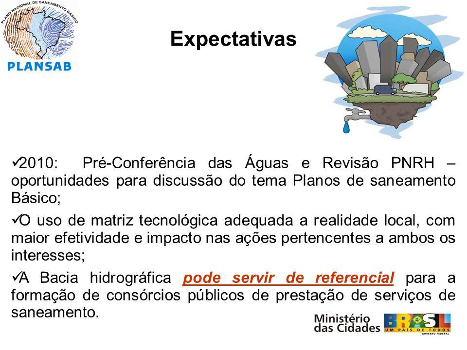 Expectativas 2010: Pré-Conferência das Águas e Revisão PNRH – oportunidades para discussão do tema Planos de saneamento Básico;