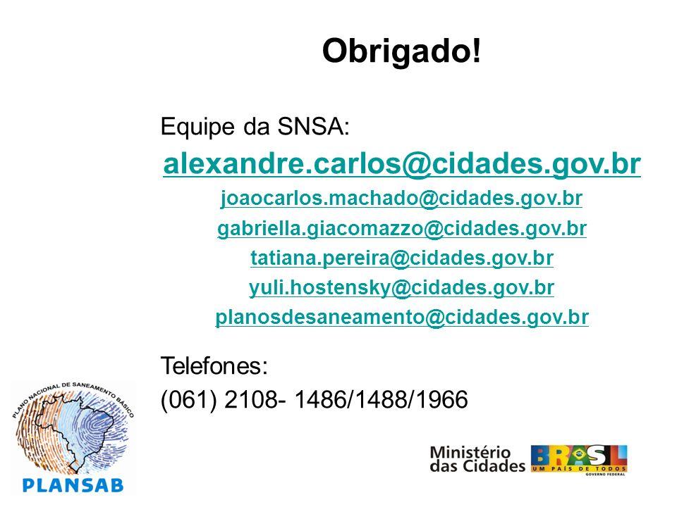 Obrigado! alexandre.carlos@cidades.gov.br Equipe da SNSA: Telefones: