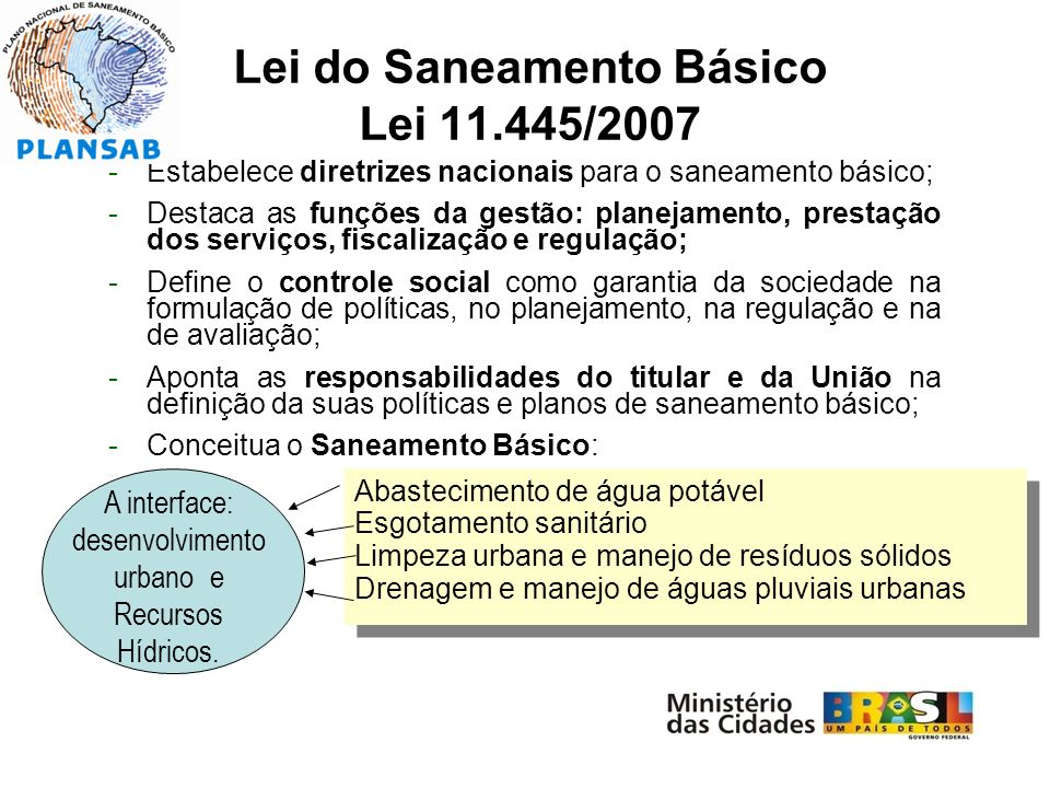 Lei do Saneamento Básico Lei 11.445/2007