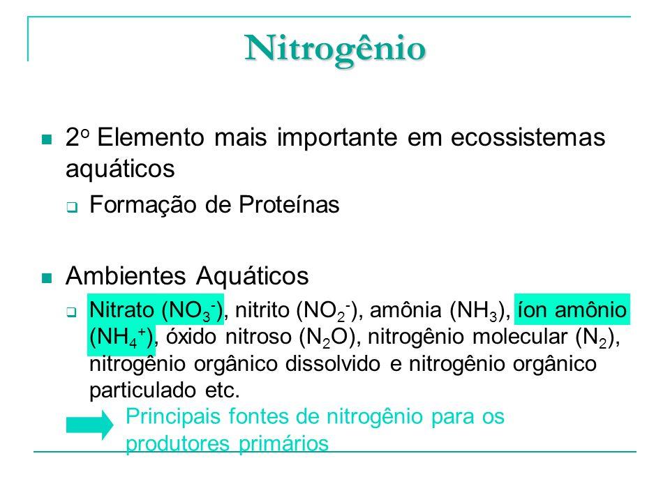 Nitrogênio 2o Elemento mais importante em ecossistemas aquáticos