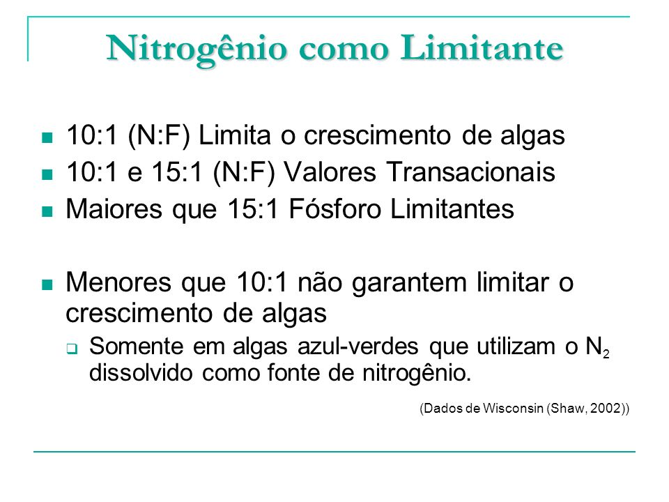 Nitrogênio como Limitante