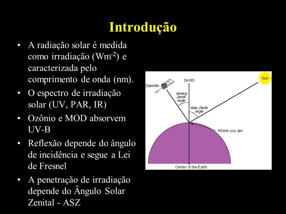 Introdução A radiação solar é medida como irradiação (Wm-2) e caracterizada pelo comprimento de onda (nm).
