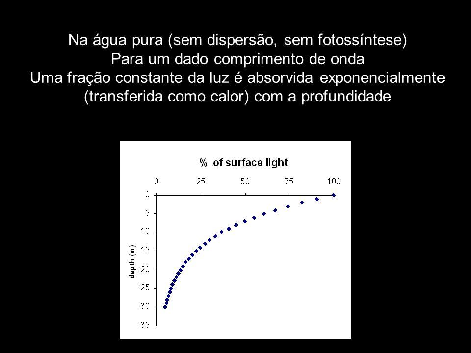 Na água pura (sem dispersão, sem fotossíntese)
