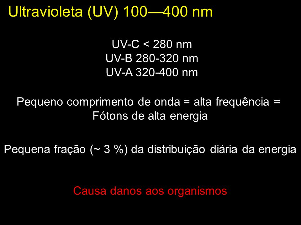 Ultravioleta (UV) 100—400 nm UV-C < 280 nm UV-B 280-320 nm