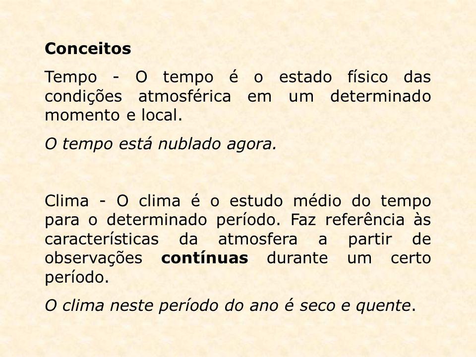 Conceitos Tempo - O tempo é o estado físico das condições atmosférica em um determinado momento e local.