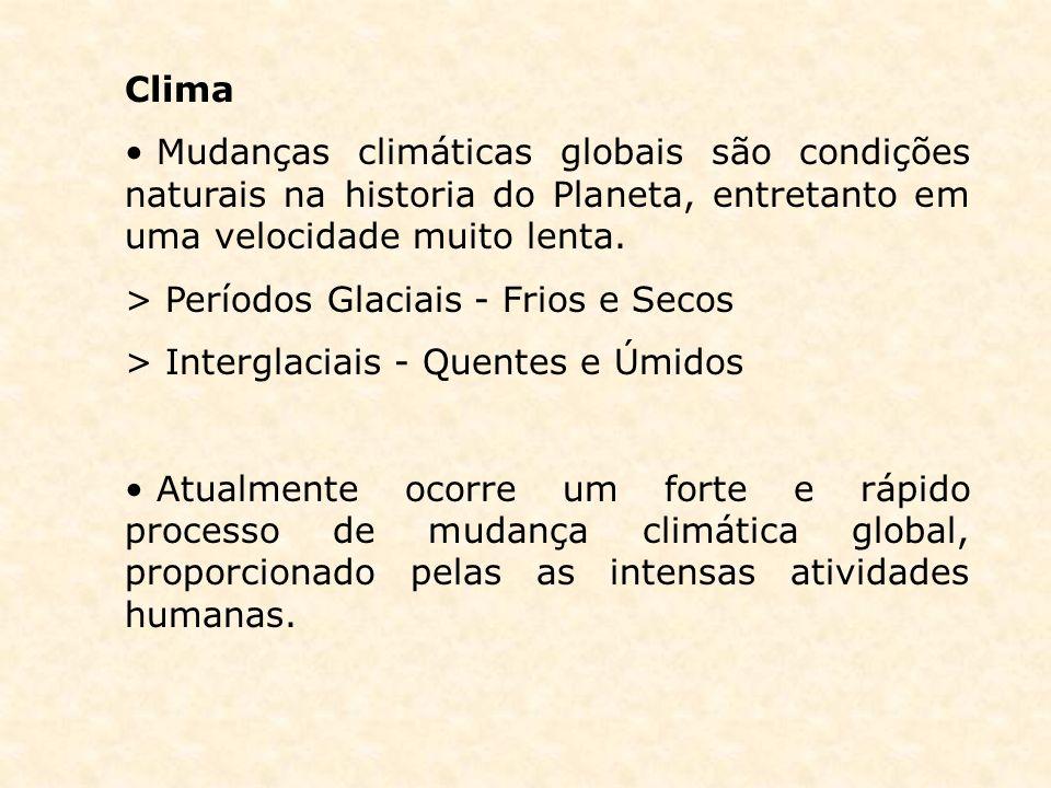 ClimaMudanças climáticas globais são condições naturais na historia do Planeta, entretanto em uma velocidade muito lenta.