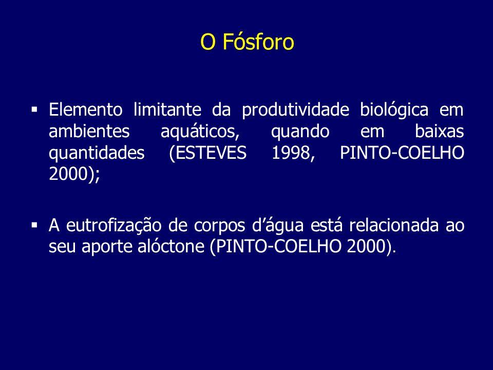 O Fósforo Elemento limitante da produtividade biológica em ambientes aquáticos, quando em baixas quantidades (ESTEVES 1998, PINTO-COELHO 2000);
