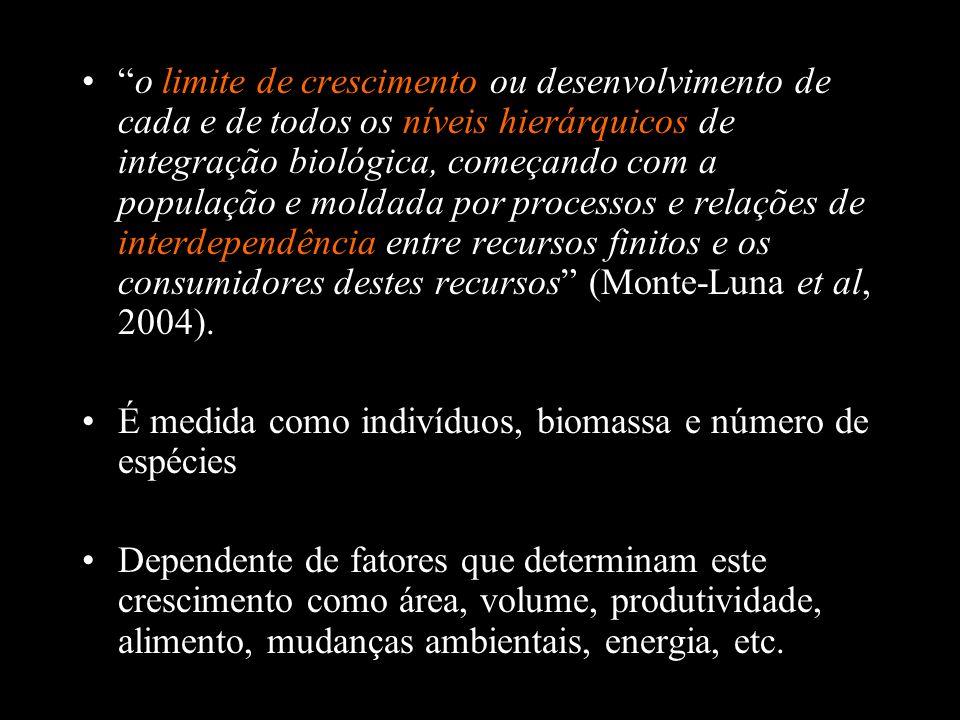 o limite de crescimento ou desenvolvimento de cada e de todos os níveis hierárquicos de integração biológica, começando com a população e moldada por processos e relações de interdependência entre recursos finitos e os consumidores destes recursos (Monte-Luna et al, 2004).