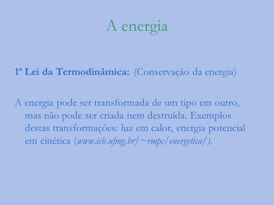 A energia 1ª Lei da Termodinâmica: (Conservação da energia)