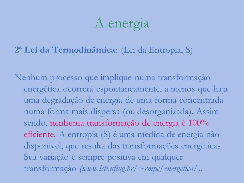 A energia 2ª Lei da Termodinâmica: (Lei da Entropia, S)