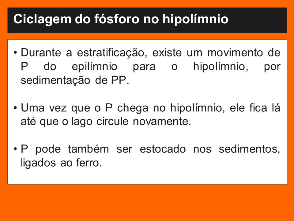 Ciclagem do fósforo no hipolímnio