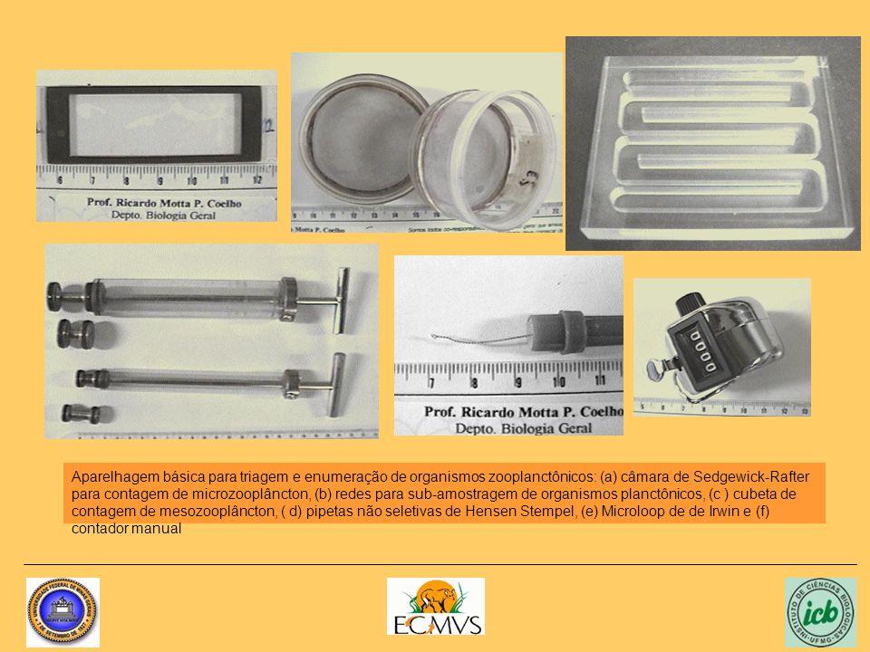 Aparelhagem básica para triagem e enumeração de organismos zooplanctônicos: (a) câmara de Sedgewick-Rafter para contagem de microzooplâncton, (b) redes para sub-amostragem de organismos planctônicos, (c ) cubeta de contagem de mesozooplâncton, ( d) pipetas não seletivas de Hensen Stempel, (e) Microloop de de Irwin e (f) contador manual