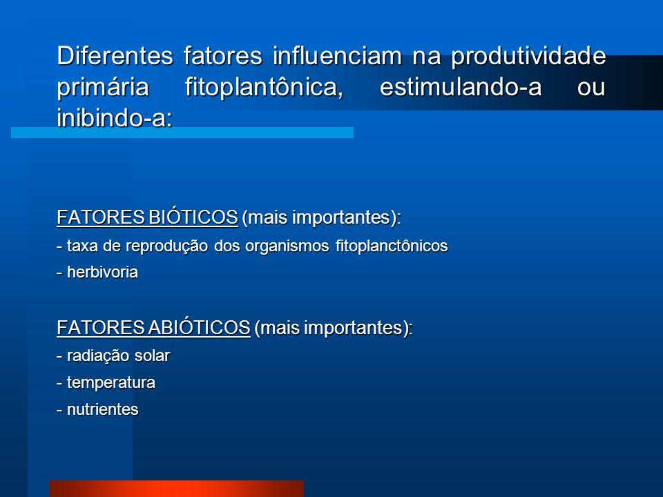 Diferentes fatores influenciam na produtividade primária fitoplantônica, estimulando-a ou inibindo-a: