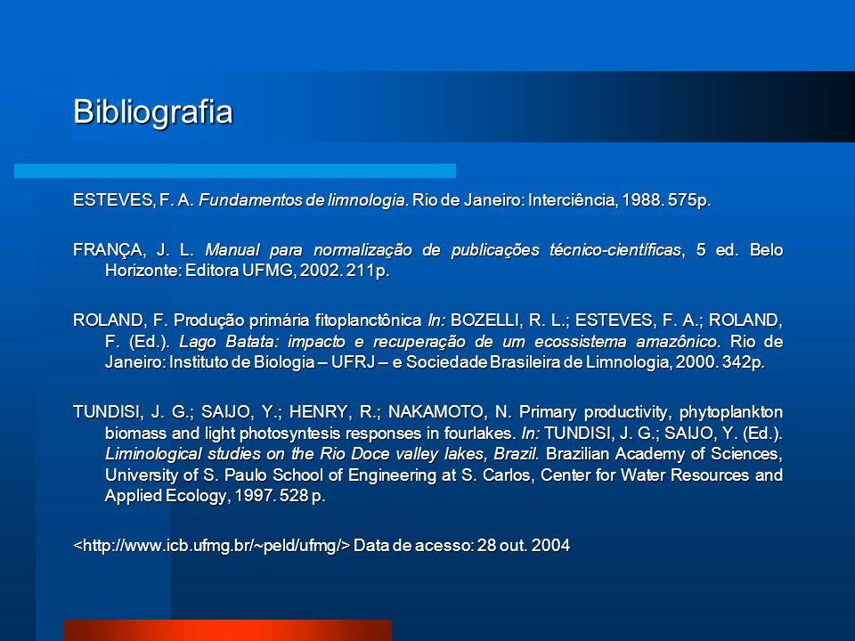 Bibliografia ESTEVES, F. A. Fundamentos de limnologia. Rio de Janeiro: Interciência, 1988. 575p.