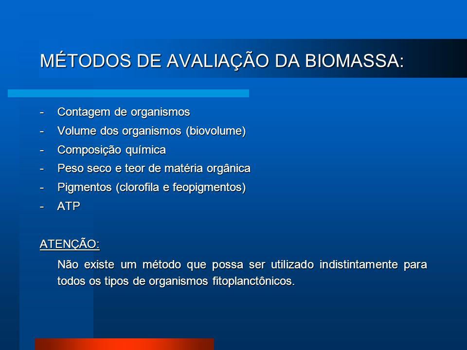 MÉTODOS DE AVALIAÇÃO DA BIOMASSA: