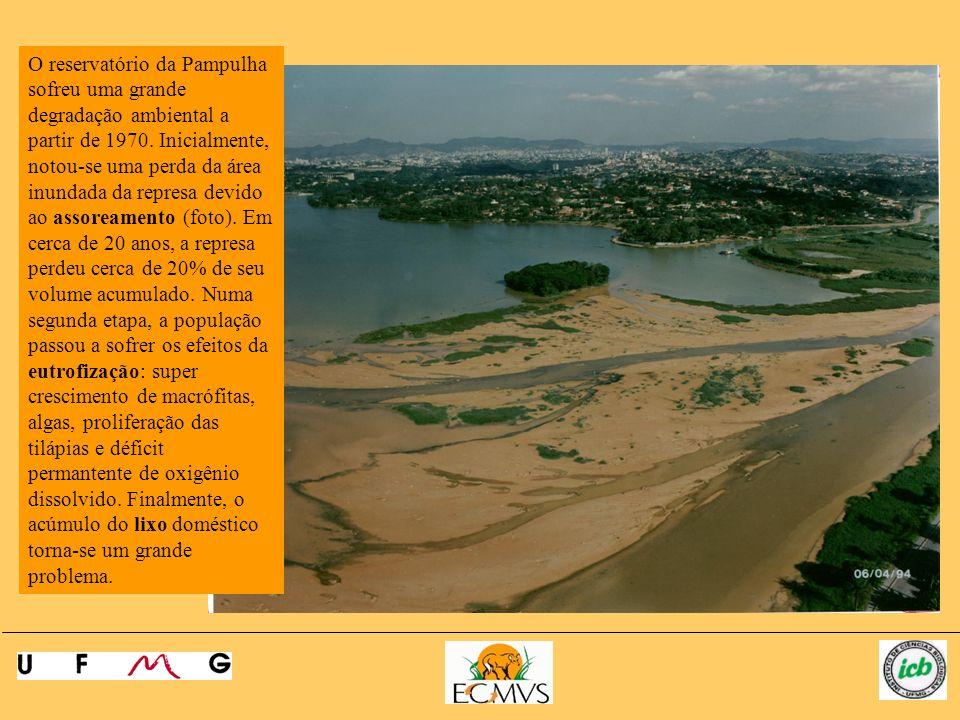 O reservatório da Pampulha sofreu uma grande degradação ambiental a partir de 1970.