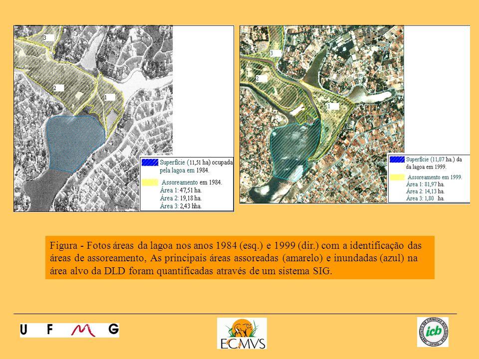 Figura - Fotos áreas da lagoa nos anos 1984 (esq. ) e 1999 (dir