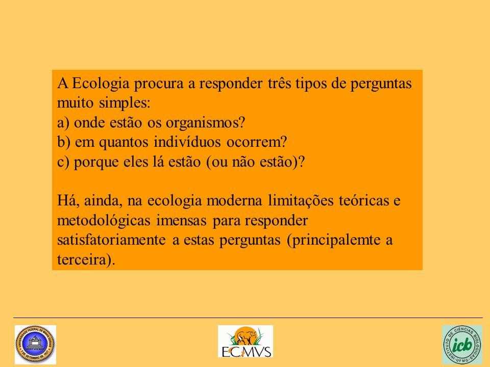 A Ecologia procura a responder três tipos de perguntas muito simples: