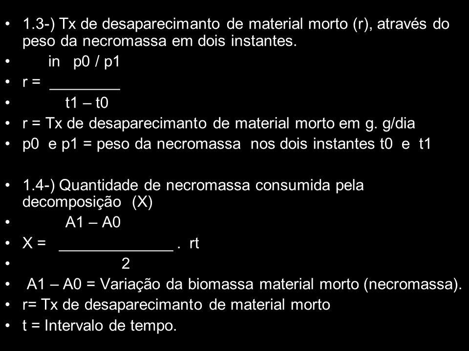 1.3-) Tx de desaparecimanto de material morto (r), através do peso da necromassa em dois instantes.