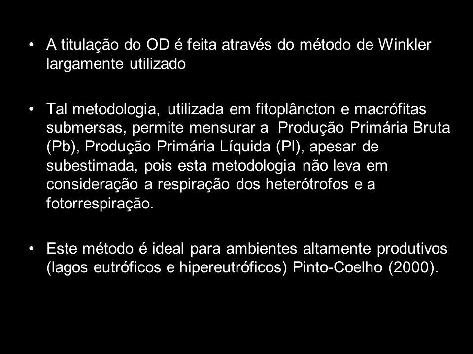 A titulação do OD é feita através do método de Winkler largamente utilizado