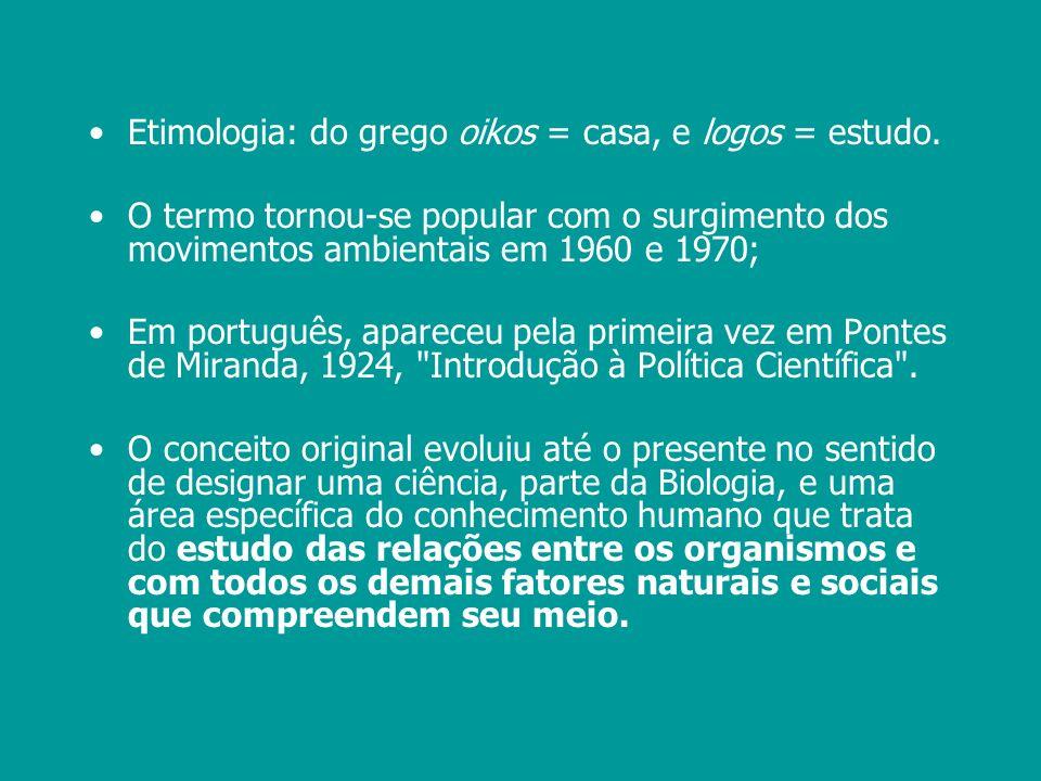 Etimologia: do grego oikos = casa, e logos = estudo.