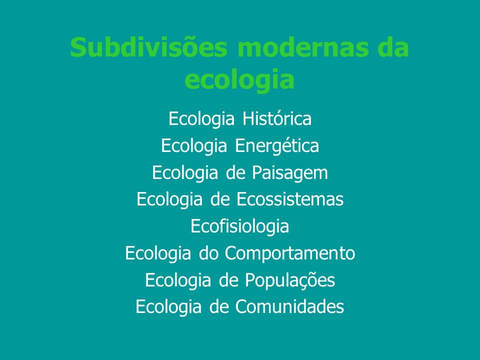 Subdivisões modernas da ecologia