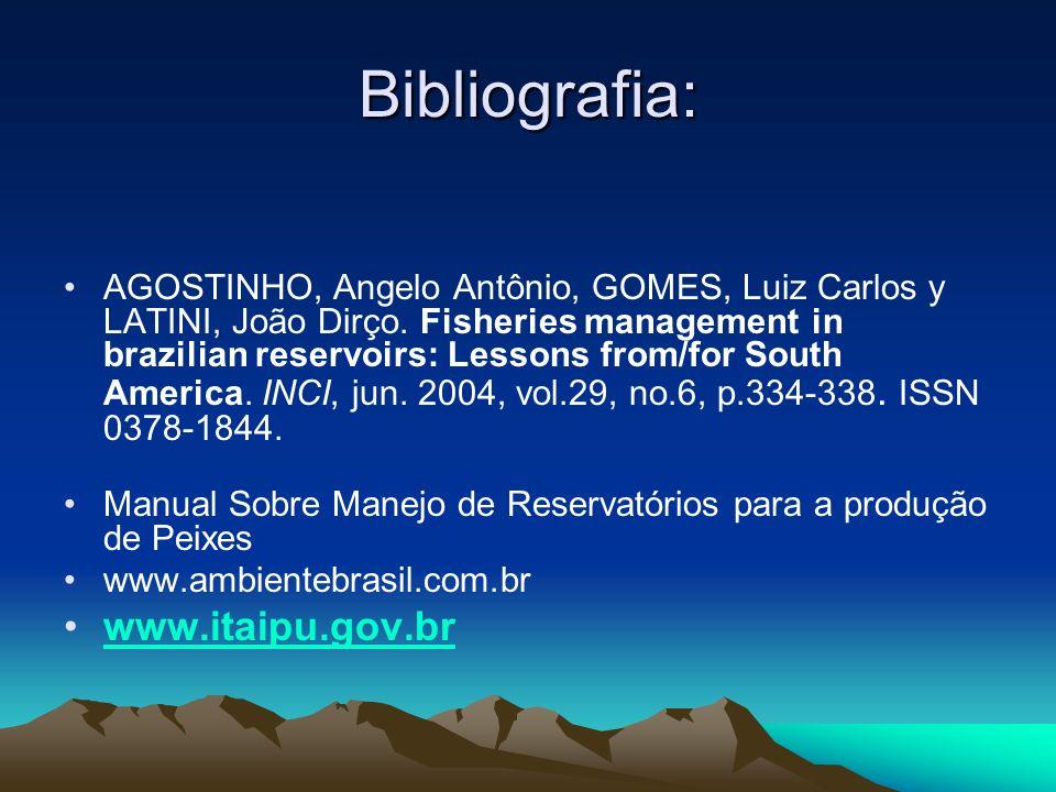 Bibliografia: www.itaipu.gov.br