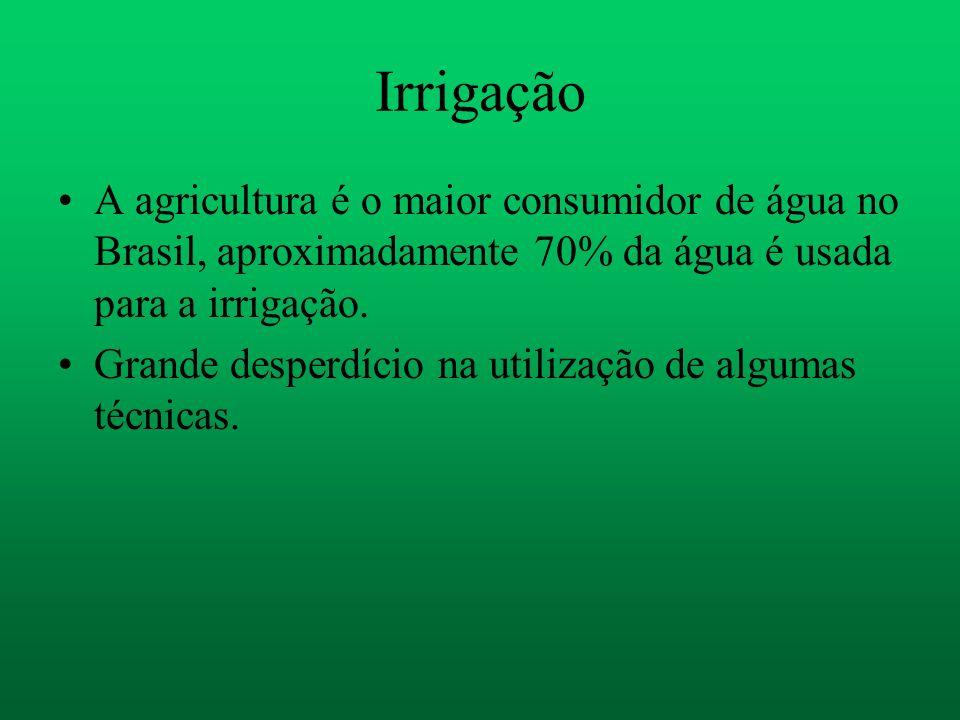 Irrigação A agricultura é o maior consumidor de água no Brasil, aproximadamente 70% da água é usada para a irrigação.