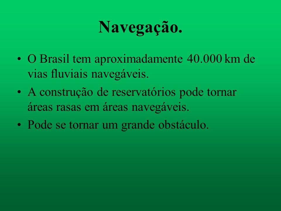 Navegação. O Brasil tem aproximadamente 40.000 km de vias fluviais navegáveis.