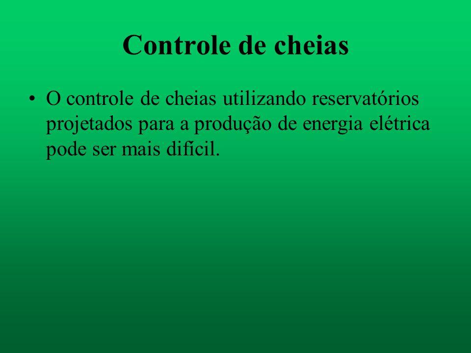 Controle de cheias O controle de cheias utilizando reservatórios projetados para a produção de energia elétrica pode ser mais difícil.