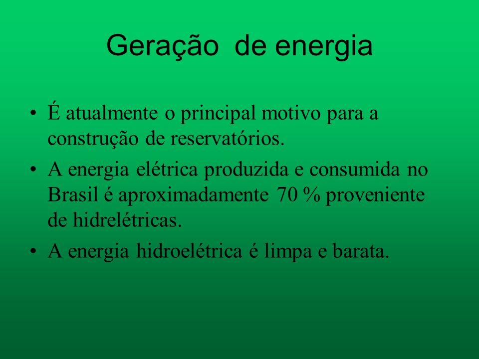 Geração de energia É atualmente o principal motivo para a construção de reservatórios.