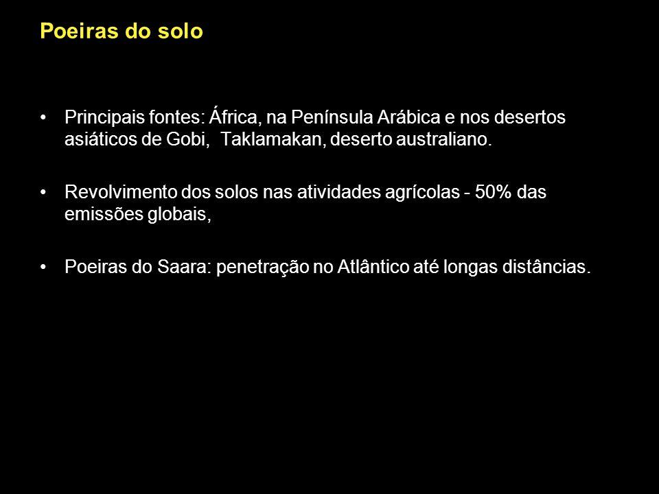 Poeiras do solo Principais fontes: África, na Península Arábica e nos desertos asiáticos de Gobi, Taklamakan, deserto australiano.