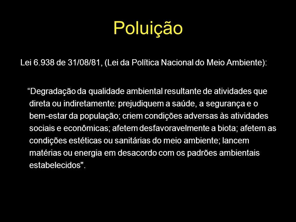 Poluição Lei 6.938 de 31/08/81, (Lei da Política Nacional do Meio Ambiente):