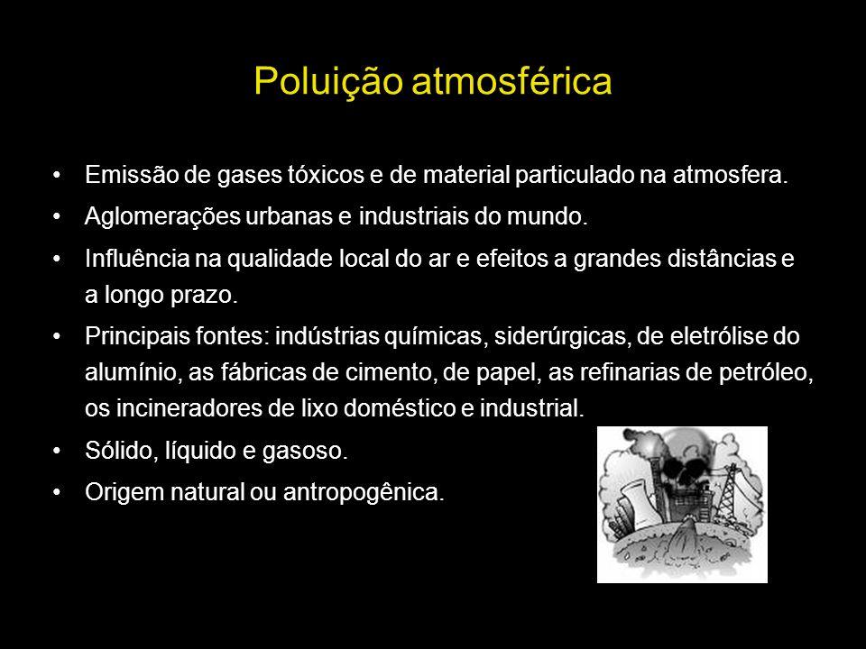 Poluição atmosférica Emissão de gases tóxicos e de material particulado na atmosfera. Aglomerações urbanas e industriais do mundo.