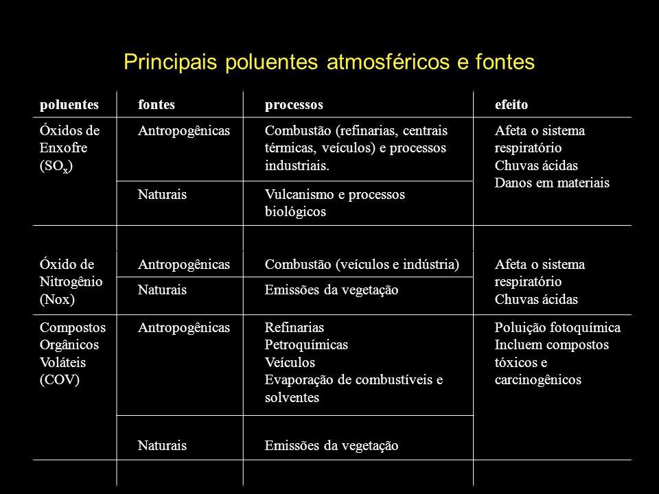 Principais poluentes atmosféricos e fontes