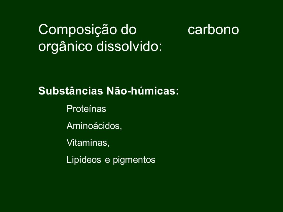 Composição do carbono orgânico dissolvido: