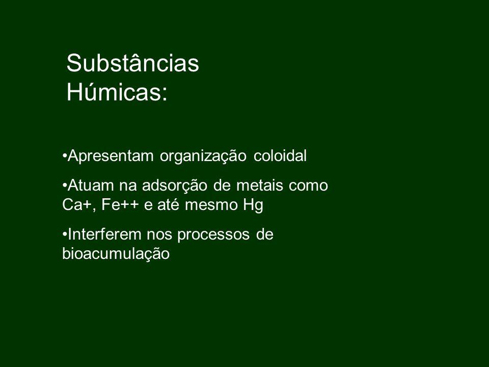 Substâncias Húmicas: Apresentam organização coloidal