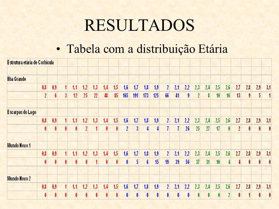 Tabela com a distribuição Etária