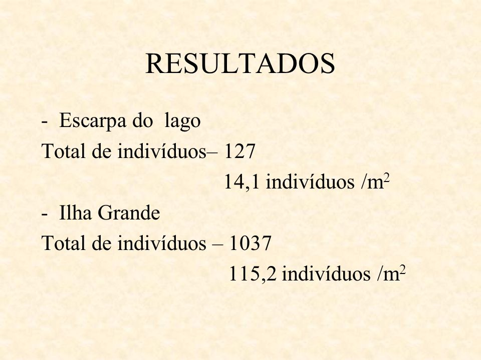 RESULTADOS Escarpa do lago Total de indivíduos– 127