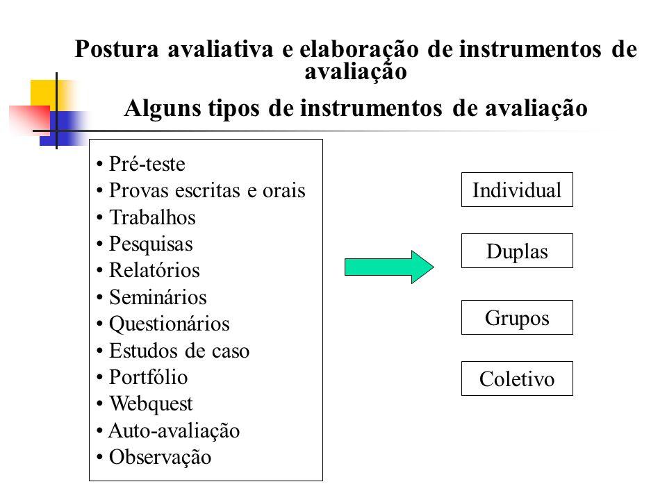 Postura avaliativa e elaboração de instrumentos de avaliação