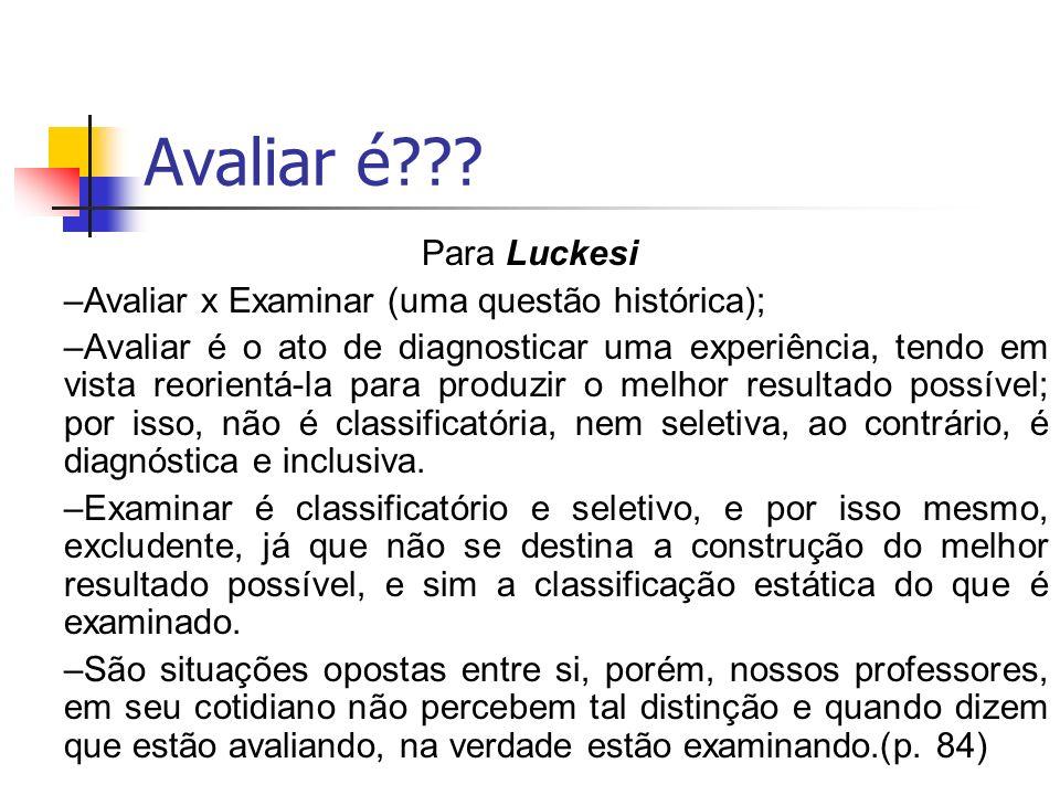 Avaliar é Para Luckesi Avaliar x Examinar (uma questão histórica);