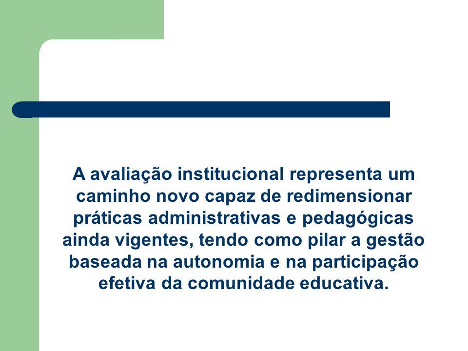 A avaliação institucional representa um caminho novo capaz de redimensionar práticas administrativas e pedagógicas ainda vigentes, tendo como pilar a gestão baseada na autonomia e na participação efetiva da comunidade educativa.