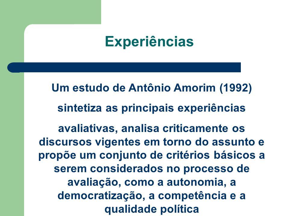 Experiências Um estudo de Antônio Amorim (1992)
