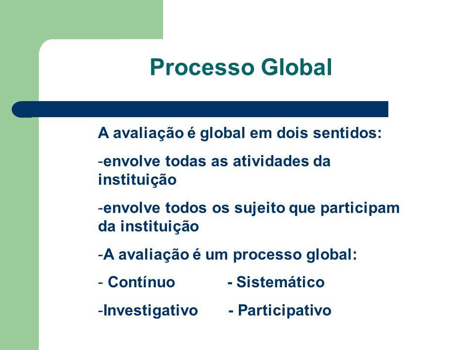 Processo Global A avaliação é global em dois sentidos: