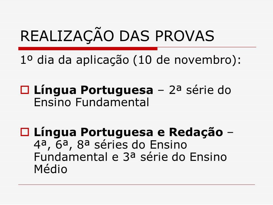 REALIZAÇÃO DAS PROVAS 1º dia da aplicação (10 de novembro):